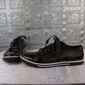 Kenneth Cole Brown Lace Up Leather Upper Sneakers